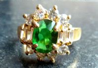 Emerald And Clear Rhinestone Cocktail Ring.